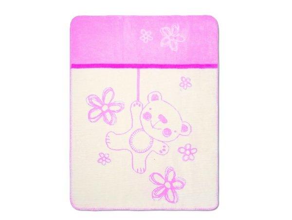 Бебешко памучно одеяло за момиче Teddy 75 x 100 см розово 0201 TКТ-24